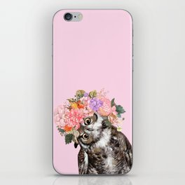 Owl with Flowers Crown in Pink iPhone Skin