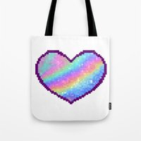holographic Tote Bags featuring Holographic Heart by Sombras Blancas Art & Design