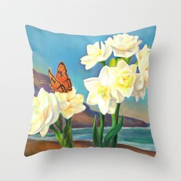A Morning Greeting From Narcissus Flowers Throw Pillow