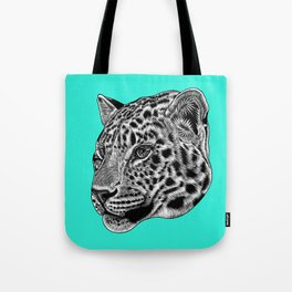 Amur leopard cub - turquoise - big cat Tote Bag