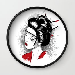 Geisha - Japanese Girl Portrait traditional Japan Woman Wall Clock