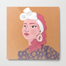 A Girl with a Headscarf Wearing Winged Eyeliner - Illustration Metal Print