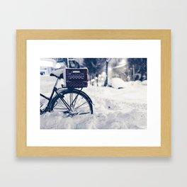 Milk Crate on Bike in Snow Framed Art Print