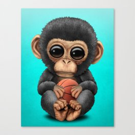 Cute Baby Chimp Playing With Basketball Canvas Print