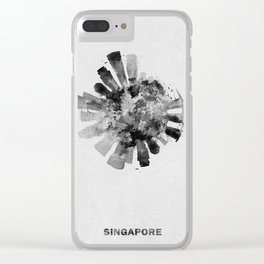 Singapore Black and White Skyround / Skyline Watercolor Painting Clear iPhone Case