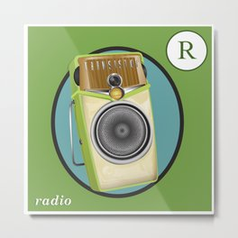 Transistor Radio Flash Card Metal Print