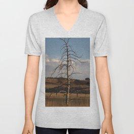 Old Straight Tree in Golden Field Unisex V-Neck