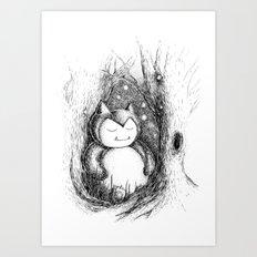 Snoozy Snorlax Art Print