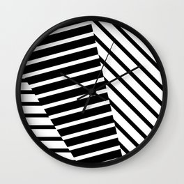 Abstract Striped Triangles Wall Clock