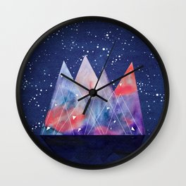 Mountains by night Wall Clock