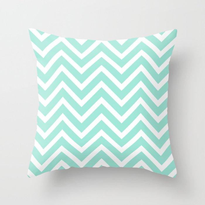 Chevron Stripes Seafoam Green White Throw Pillow By Vintageeal623