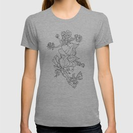Floral Ink - Black & White Ranunculus by Cooper and Colleen T-shirt