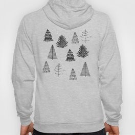 Trees Pattern Black and White Hoody