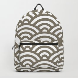 Warm Grey Japanese Waves Pattern Backpack