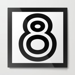 Number 8 - Digits - Geometric Lines - Black - 8 - eight - with black border Metal Print
