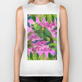 TROPICAL GREEN PARROT JUNGLE ART  ART DESIGN Biker Tank