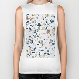 TERRAZZO ABSTRACT BLUE YELLOW ORANGE Biker Tank