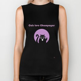 """""""Cats love Champagne"""" by Qora & Shaï Biker Tank"""