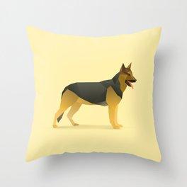 Geometric German Shepherd Dog - Modern Animal Art Throw Pillow