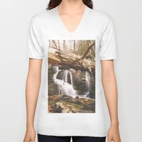 mineral V-neck T-shirts featuring Mineral Springs Falls by Mel O'Donohue