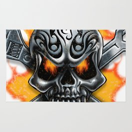 Flaming Skull and Wrenches Rug