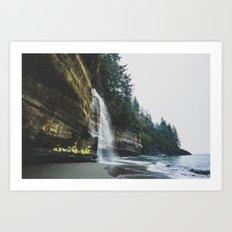 Waterfall into the Ocean Art Print