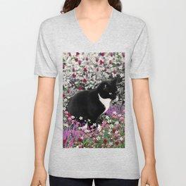 Freckles in Flowers II - Tuxedo Kitty Cat Unisex V-Neck