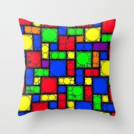 Circle Squares Throw Pillow