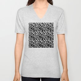 geometric decomposition in black Unisex V-Neck