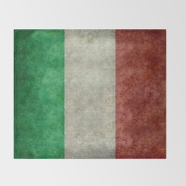 Flag of Italy, worn grungy style Throw Blanket