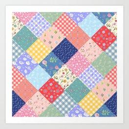 Happy patchwork quilt Art Print