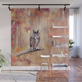 Great Horned Owl perched in the autumn forest Wall Mural