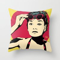 audrey Throw Pillows featuring Audrey by Vee Ladwa