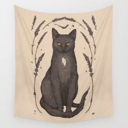 The Cat and Lavender Wall Tapestry