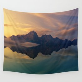 Fantasy mountain reflection Wall Tapestry