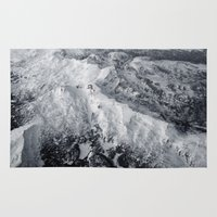 snowboard Area & Throw Rugs featuring Winter Mountain Range by Leah Flores