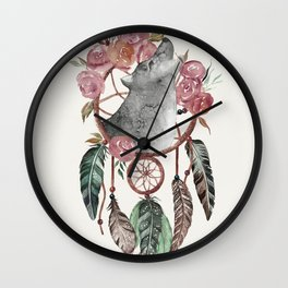 Wolf Dream Catcher Wall Clock