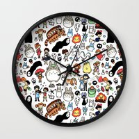theater Wall Clocks featuring Kawaii Ghibli Doodle by KiraKiraDoodles