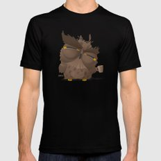 Grumpy coffee owl Black Mens Fitted Tee MEDIUM