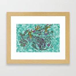 Koi with flaming lotus flowers Framed Art Print