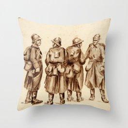 Vintage First World War Art - JM's Sketchbook - French soldiers Throw Pillow