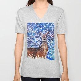 Deer in the Snow Unisex V-Neck