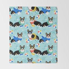 Corgi tri colored corgis pool party dog breed cute custom pet portrait by pet friendly Throw Blanket