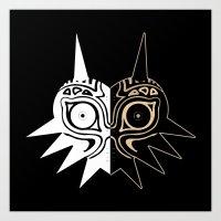 majora Art Prints featuring Majora´s Mask Black & White by Mr. Carlos