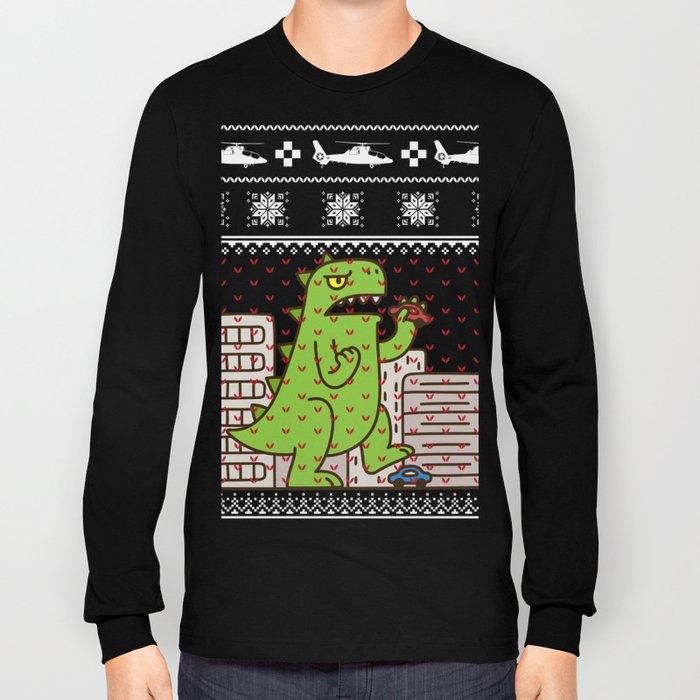 Godzilla Ugly Christmas Long Sleeve T Shirt By Mrsmitful Society6