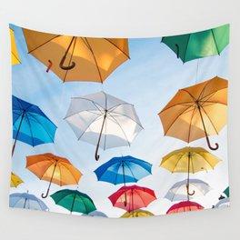 umbrellas flying Wall Tapestry