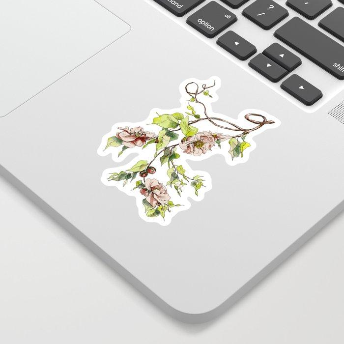 Camellia Inspired Flower Branch Sticker