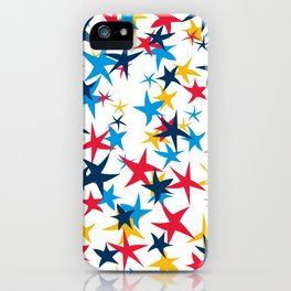 Red white and blue stars with a pop of yellow iPhone Case