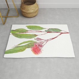 Flowering Silver Princess Eucalyptus Watercolour Rug