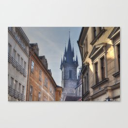 Tyn Church steeple in Prague Canvas Print